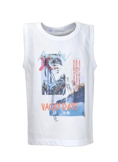 Mininio Beyaz Baskılı Kolsuz T-Shirt (9ay-4yaş) Beyaz Baskılı Kolsuz T-Shirt (9ay-4yaş) Beyaz